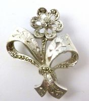 Vintage Marcasite Set Flower And Bow Brooch By Sphinx.